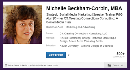 LinkedIn Snapshot for Michelle Beckham-Corbin